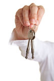Delivery of two keys Royalty Free Stock Photography