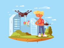 Delivery using quadrocopters Royalty Free Stock Images