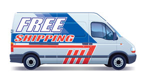 Delivery van. White commercial vehicle - delivery van - free shipping royalty free illustration
