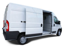 Delivery van. White delivery van with open door, isolated with drop shadow Royalty Free Stock Image