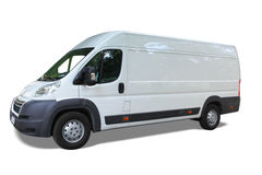 Delivery van. White delivery van isolated on white background Royalty Free Stock Images
