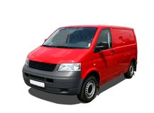 Delivery van. Red delivery van isolated over white Stock Image