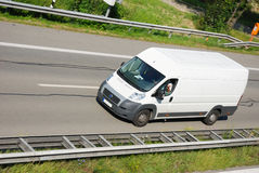 Delivery van. On german autobahn Stock Photo