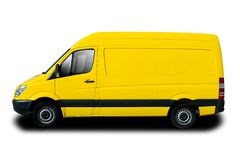 Delivery Van. Yellow Delivery Van Isolated on White Royalty Free Stock Photography