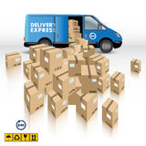 Delivery van. With a Boxes on white background. Vector illustration stock illustration