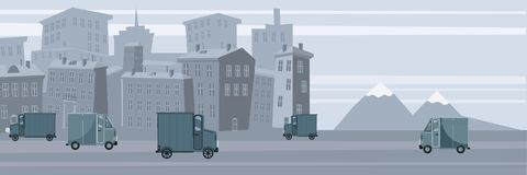 Delivery van, on city background. Product goods shipping transport. Logistic, fast service truck. Vector, isolated. Delivery van, on city background. Product royalty free illustration