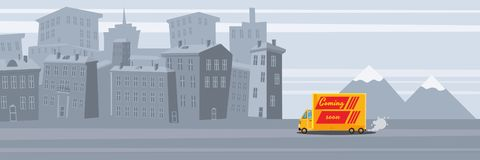 Delivery van Coming soon, on city background. Product goods shipping transport. Logistic, fast service truck. Vector stock illustration