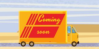 Delivery van Coming soon, on road. Product goods shipping transport. Logistic, fast service truck. Vector, isolated royalty free illustration