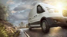 Delivery van on a countryside highway royalty free stock photo
