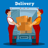 Delivery Van. Delivery man with Box. Delivery Concept Stock Photo