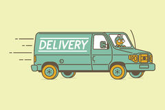 Delivery van and delivery man Royalty Free Stock Photo