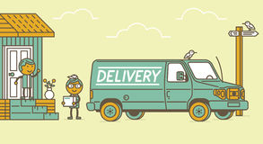 Delivery van and delivery man Stock Photos