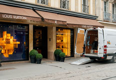 Delivery van for the fashion store Louis Vuitton Royalty Free Stock Image