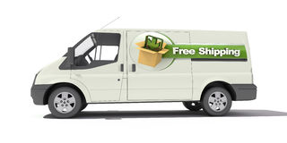 Delivery van, free shipping Royalty Free Stock Images