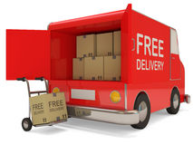 Delivery Van and Hand truck with a box Stock Photography