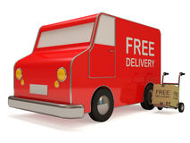 Delivery Van and Hand truck with a box Royalty Free Stock Image