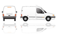 Delivery van isolated vector. Vector illustration of white blank delivery van with text space vector illustration