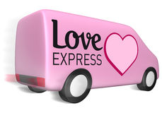 Delivery van love express Royalty Free Stock Photos