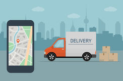 Delivery van and mobile phone with map on city background. Stock Photos