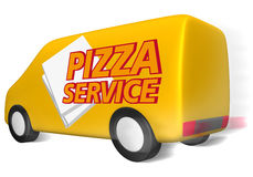 Delivery van pizza service. Delivery van with 24 hour service symbol Stock Image