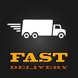 Delivery van poster with fast delivery letters.  Royalty Free Stock Photography
