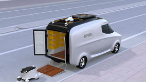 Delivery van releasing self-driving robots and drone