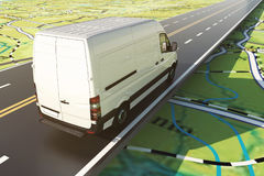 Delivery van runs along the highway on a road map. 3D Rendering. Road transport. Distribution and sorting of goods. Concept of shipment and tracking system. 3D royalty free illustration