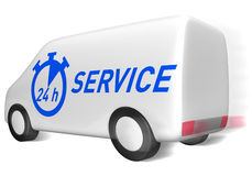 Delivery van service. Delivery van with 24 hour service symbol Stock Images
