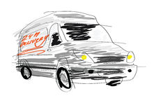 Delivery van sketch Royalty Free Stock Photos