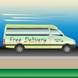 The delivery van speeding on the freeway stock illustration
