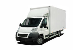 Delivery van. White delivery van  on white background Stock Images