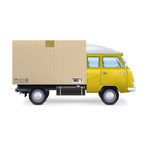 Delivery van  on white Royalty Free Stock Images