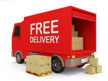 Free Delivery Van With A Boxes Stock Photo - 27918910