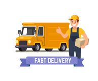 Delivery van and worker. Stock Images
