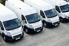 Delivery Vans in a row Stock Photo