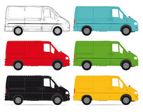 Delivery vans. A set of colorful delivery van illustrations on a white background Stock Photos