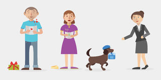 Delivery vector flat illustration. Vector flat illustration Dog delivers mail to people Royalty Free Stock Images