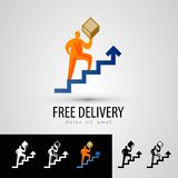 Delivery vector logo design template. courier or. Delivery. man with a box on a white background. vector illustration Royalty Free Stock Photo