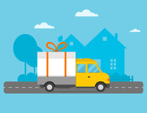 Delivery vector transport truck van Christmas gift Royalty Free Stock Photo