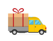 Delivery vector transport truck van Christmas gift Stock Photography