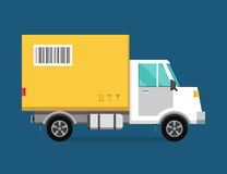 Delivery vector transport truck van and gift box Royalty Free Stock Photos