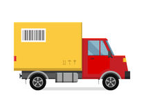 Delivery vector transport truck van and gift box Stock Photos
