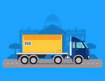 Delivery vector transport truck van and gift box Royalty Free Stock Image