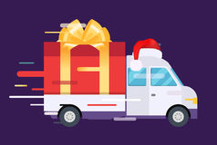 Delivery vector transport truck, van with gift box Royalty Free Stock Photography
