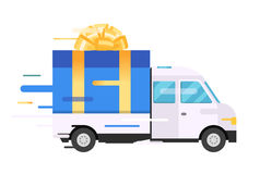 Delivery vector transport truck, van with gift box Royalty Free Stock Image