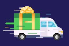 Delivery vector transport truck, van with gift box Stock Photo