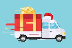 Delivery vector transport truck, van with gift box Royalty Free Stock Photo