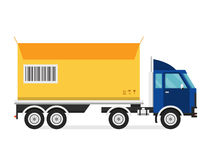 Delivery vector transport truck van and gift box Stock Photography