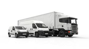 Delivery vehicles. 3D rendering of a truck, a van and a lorry isolated on a white background Stock Image