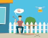 Delivery via drone Royalty Free Stock Images